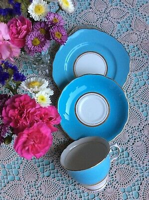 Lovely Colclough Blue Harlequin 🌸  Bone China Trio Tea Set Cup Saucer Plate