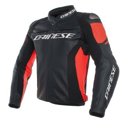 Dainese Racing 3 Leather Jacket Black / Fluo Red - All Sizes!