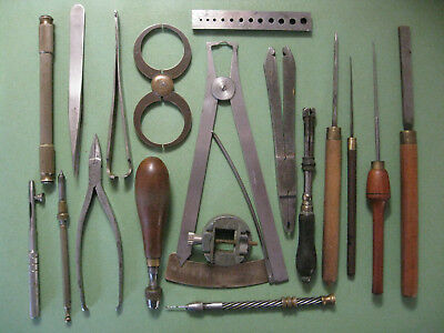 A Selection Of Interesting Vintage Tools From A Retired Watchmakers Workshop.