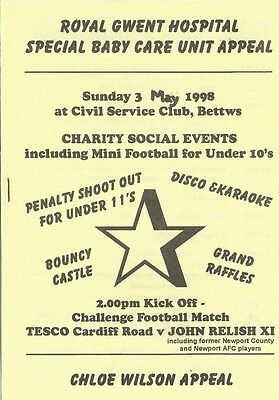 TESCO CARDIFF ROAD v JOHN RELISH X1( inc ex NEWPORT COUNTY ) 97/98 Charity Match