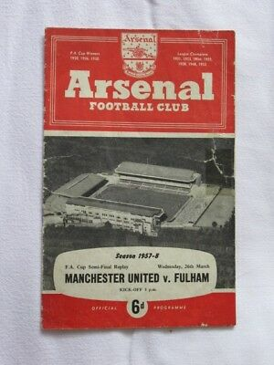 Football Programme FA Cup Semi Replay 1957/58 Man Utd v Fulham