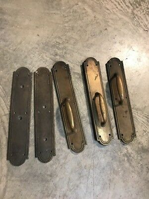Five Matching Antique Cast Brass Bronze Pull Plate For Door