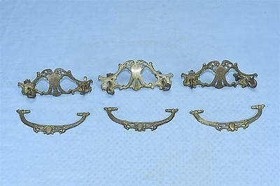 Antique SET of 3 VICTORIAN PIERCED CAST BRASS DRAWER HANDLE PULL HARDWARE #03620