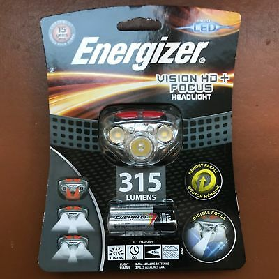 NEW Energizer Vision HD+ Focus 300 Lumens Headlight LED with 3 AAA Max batteries