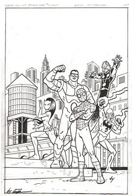 Ultimate Spider-Man Original Cover Art 2013-Ty Templeton-Free Shipping!