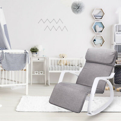 Birch Breastfeeding Rocking Chair Recliner Grey
