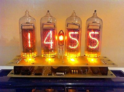 Nixie tube clock IN-14 Yellow. Steampunk. Vintage. Fallout.