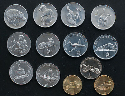 Korea 13 coins set 2002 Animals and Mechanisms UNC (#253)