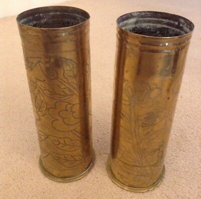 Pair German Ww1 Trench Art Decorated Vases Nouveau First World War 1917 Flowers