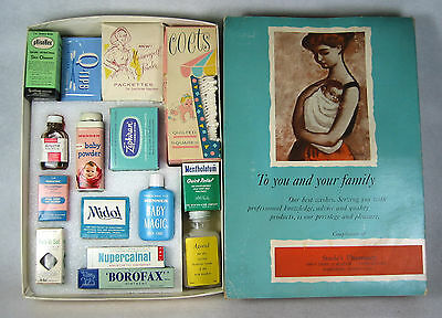 Vintage Mother/Baby Samples Health Products Assortment Display Box Harrisburg PA