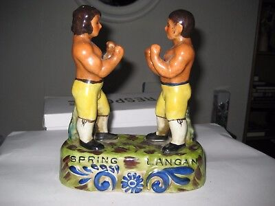 Staffordshire Tom Spring and Jack Langan Bare Knuckle Boxing Figures
