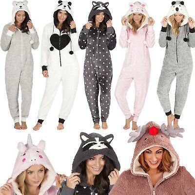 Animal Womens Onsie Warm Thick Fleece Hooded Pyjamas Xmas Gift 8 10 12 14 16 18