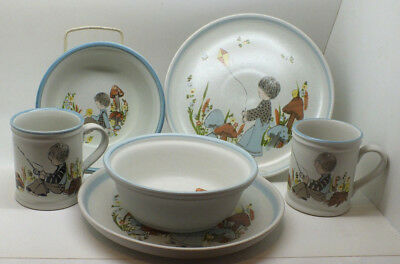 Denby Dream Weavers Childrens 2 x Plates,Bowls & Cups Boy with Mushrooms 1970s