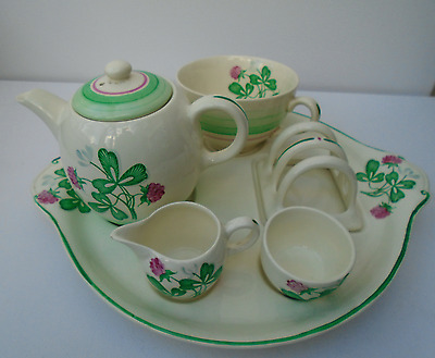 """Gray's Pottery  Teaset For One On Tray Teapot Toast Rack Cup Sugar Bowl""""clover"""""""