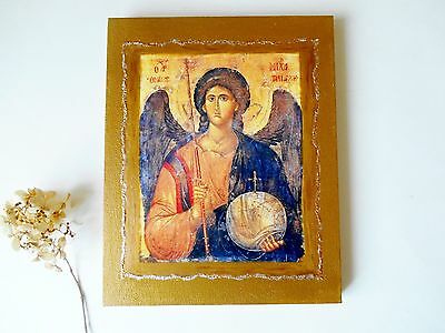 """St. Michael the Archangel Byzantine Icon on Canvas 8"""" x 10"""" Handmade from Canada"""