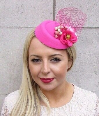 Hot Pink Rose Berry Flower Pillbox Hat Fascinator Hair Clip Races Cocktail 4199
