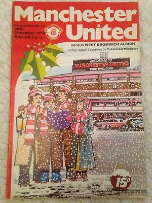 Manchester United Vs West Bromwich Albion Football Programme 1978