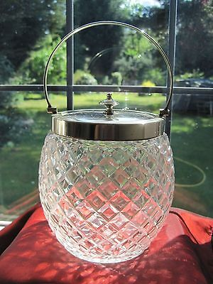 Vintage hob nail glass biscuit jar / barrel with unmarked silver plate lid and h