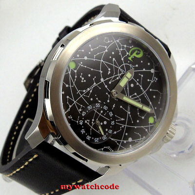 44mm PARNIS black dial LUMINOUS Sapphire glass 6498 hand Winding mens watch