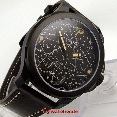 New 44mm parnis black dial PVD case sapphire glass 6498 hand winding mens watch