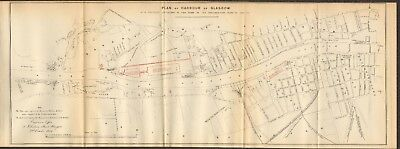 1854  Antique Map - Clyde Docks, Plan Of Harbour Of Glasgow With 1840-46 Plans