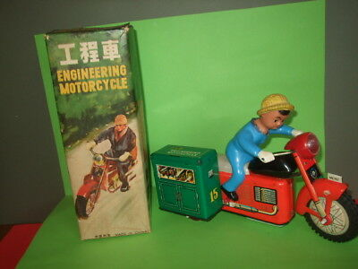 Old Tinplate Boxed Rare Me107 Engineering Motorcycle Toy.battery Operated