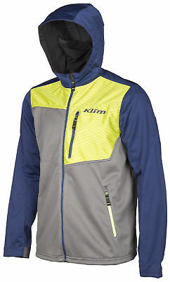Klim Mens Navy Blue/Hi-Vis Green Transition Snowmobile Mid-Layer Hoody Snow 2018