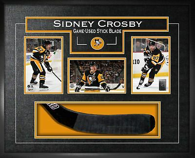 Sidney Crosby - Framed Game-Used Stickblade With Three Photos