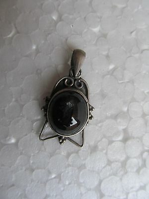 Old Original Vintage Gemstone Onyx Solid Silver Amulet Necklace Jewelry Pendant