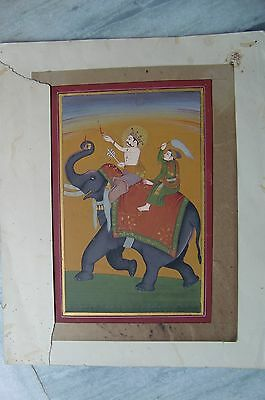 Old Original Vintage Hand Made Water Color Painting Of Indian King Very Fine Art