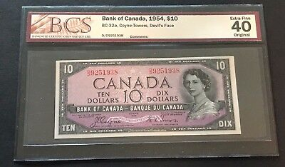 "1954 ""Devil's Face"" Bank of Canada $10.00, BC-32a, BCS Certified EF-40 Original!"