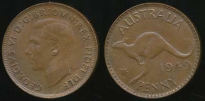 Australia, 1949(m) One Penny, 1d, George VI - almost Uncirculated