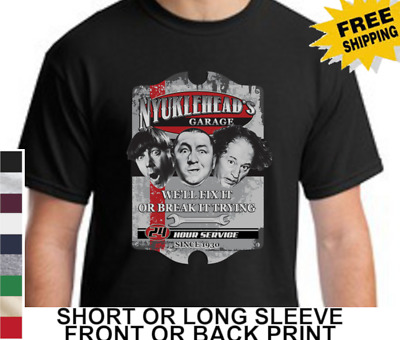 Three Stooges Funny Garage Larry Moe Curly Mens Short Or Long Sleeve T-Shirt