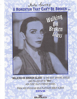 "1992 Annie Lennox ""Diva"" Walking On Broken Glass Record Album Canadian Print Ad"