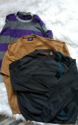 LOT of 3 Men's Classic V neck Mens Sweaters pullover  size Large