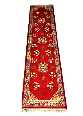 CHINESE RED 'SHOU' RUG Art Deco 1920's Hall Runner Weave Oriental Floral Crimson