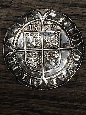1573 elizabeth 1st hammered silver sixpence