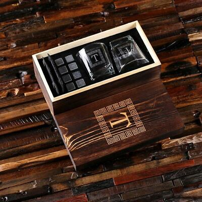 Personalised Whisky Set w 2 Glasses, 2 Slate Coasters, 8 Ice Stones & Wood Box