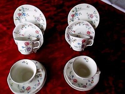 Laura ashley Chinese silk china four cups/saucers /tea plates