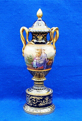 "19Thc Vienna Antique Vase & Cover Decorated With Hand Painted Figures 12""1/2."