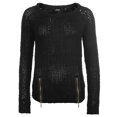66e9fb16af GOLDDIGGA WOMENS ZIP Knitted Jumper Sweater Pullover Long Sleeve Round Neck  -  14.99