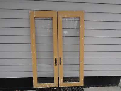 2 vintage antique beveled windows