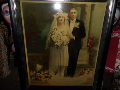 antique art deco bride framed color tinted picture photo