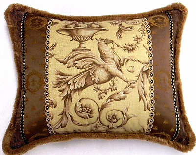 Griffin/Gargoyle gold and brown, Designer accent Pillow