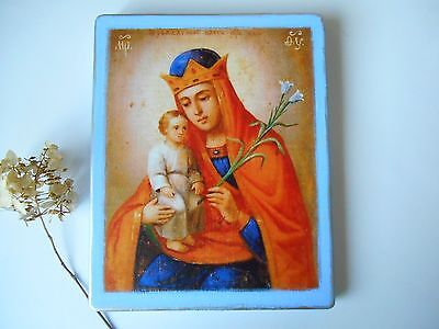 Handmade Byzantine Large icon of the Virgin and Child The Unwithering Flower