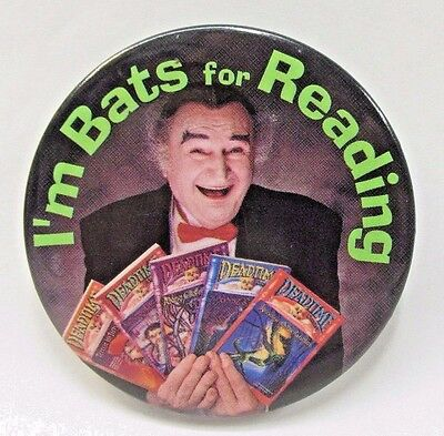 Al Lewis GRANDPA MUNSTER  I'M BATS FOR READING advertising pinback button CANADA