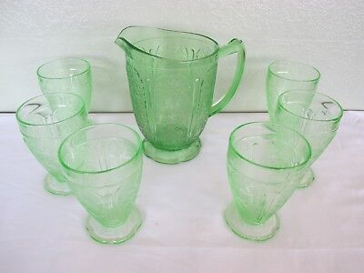 URANIUM CHERRY BLOSSOM 42 OZ DEPRESSION GREEN PITCHER AND 6 8oz. FOOTED TUMBLERS