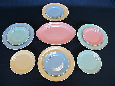 Vintage Lu Ray Pastels 9 inch Luncheon plates 6 3/8 Bread Butter plates+Platter