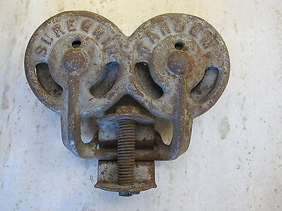 Antique Cast Iron Myers Suregrip Tandem Barn Door Hardware Rollers Wheels