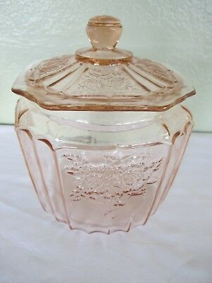 Anchor Hocking Mayfair Open Rose Pink Depression Cookie Jar And Lid